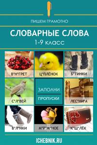 Словарные слова. Русский язык.